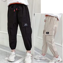 Girls Pants Cotton Cargo Pants Multi-pocket Girls Sweatpants Elastic Waist Harem Pants Kids Children Casual Sports Bib Overalls girls elastic jaw pants