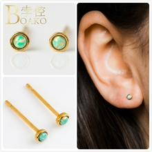 Vintage Opal Earrings For Women Engagement Party Small Round Fire Stud Girl Gift Australia Gem Stone Earring K5