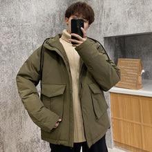 Winter Jacket Men Warm Thicken Parka Men Fashion Solid Color Casual Hooded Coat Man Wild Loose Cotton Jacket Male Clothes M-3XL цена в Москве и Питере