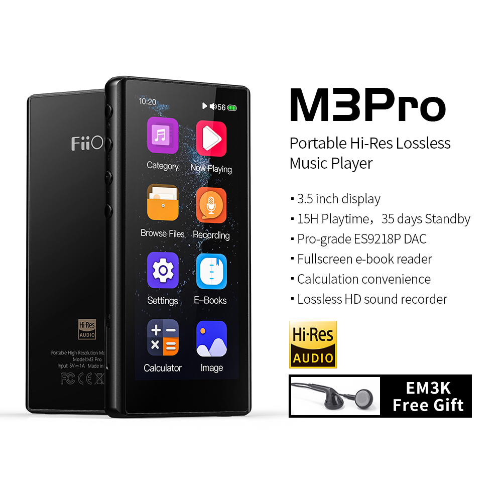 FiiO M3Pro MP3 Player 3.5inch Full Touchscreen HiFi Lossless Sound Music Player with Voice Recorder, E-Book,Support
