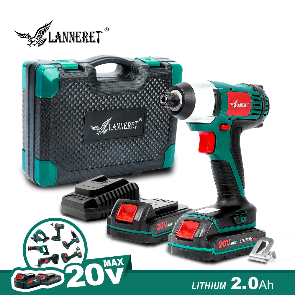 LANNERET 20V Electric Screwdriver Cordless Screw Driver Impact Drill 150NM Variable Speed Rechargeable Drill BMC Box