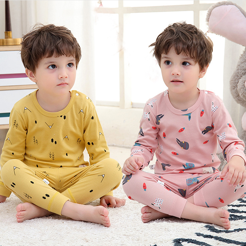 Children's Pajamas Sets Autumn Cotton Pijamas Inflant Long Sleeved Baby Girls Clothing Suit Cartoon Boys Sleepwear Pyjamas Kids 1