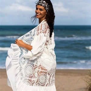 Image 2 - 2020 New Bikini Cover ups Sexy Belted Summer Dress White Lace Cotton Tunic Women Plus Size Beach Wear Swim Suit Cover Up Q1049