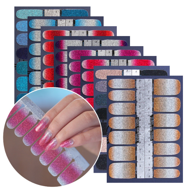 Shimmering Powder Solid Color Nail Sticker Stick Completely Nail Polish Patch Gradient Color Nail Sticker 14 Stickers C Series