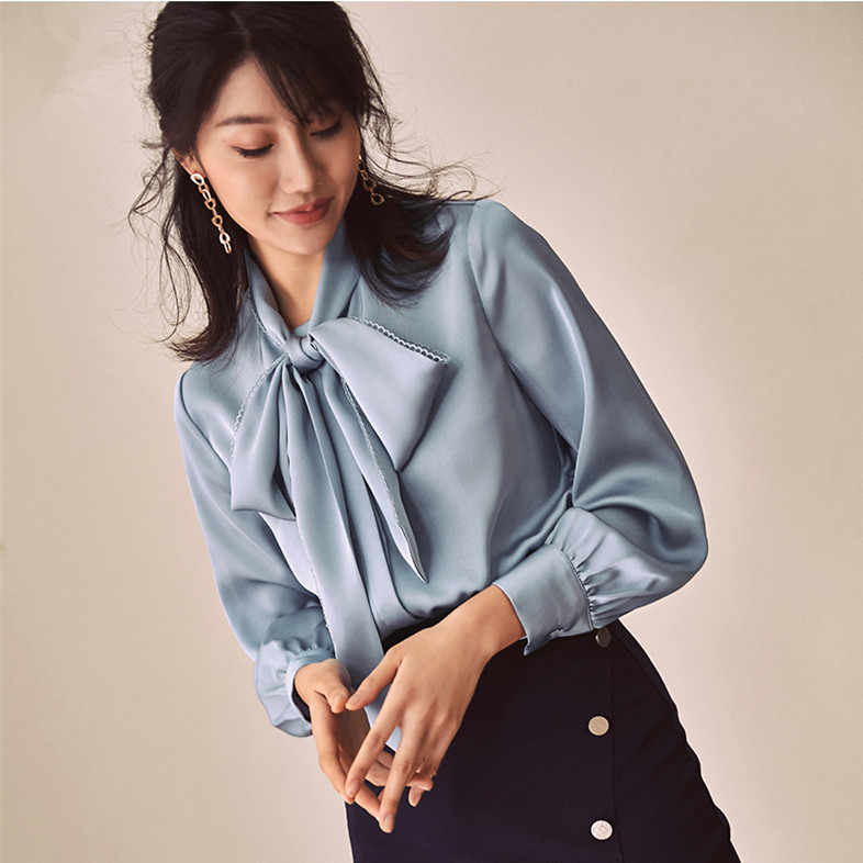 Chic Women/'s Ladies Satin OL Long Sleeve Work Blouse Casual Shirt Tops Office