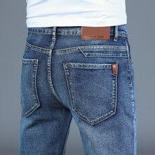 Stretch Denim Trousers Regular Smart-Jeans Business Blue Straight Men's Plus-Size Fashion