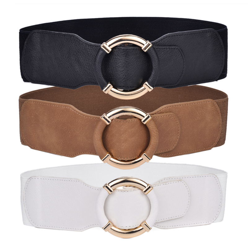 Women's Wide Belt Waist Elastic Stretch Belts For Women Wrapped Gold Circle Buckle Plus Size Ceinture Femme Cummerbunds 2020