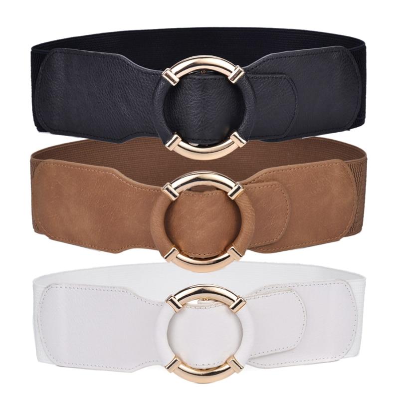 Women's Wide Belt Waist Elastic Stretch Belts For Women Wrapped Gold Circle Buckle Plus Size Ceinture Femme Cummerbunds 2020