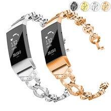 Essidi-Correa de pulsera inteligente Fitbit Charge 3 y 4 para mujer, repuesto de Correa de reloj de acero inoxidable brillante para carga 3 y 4