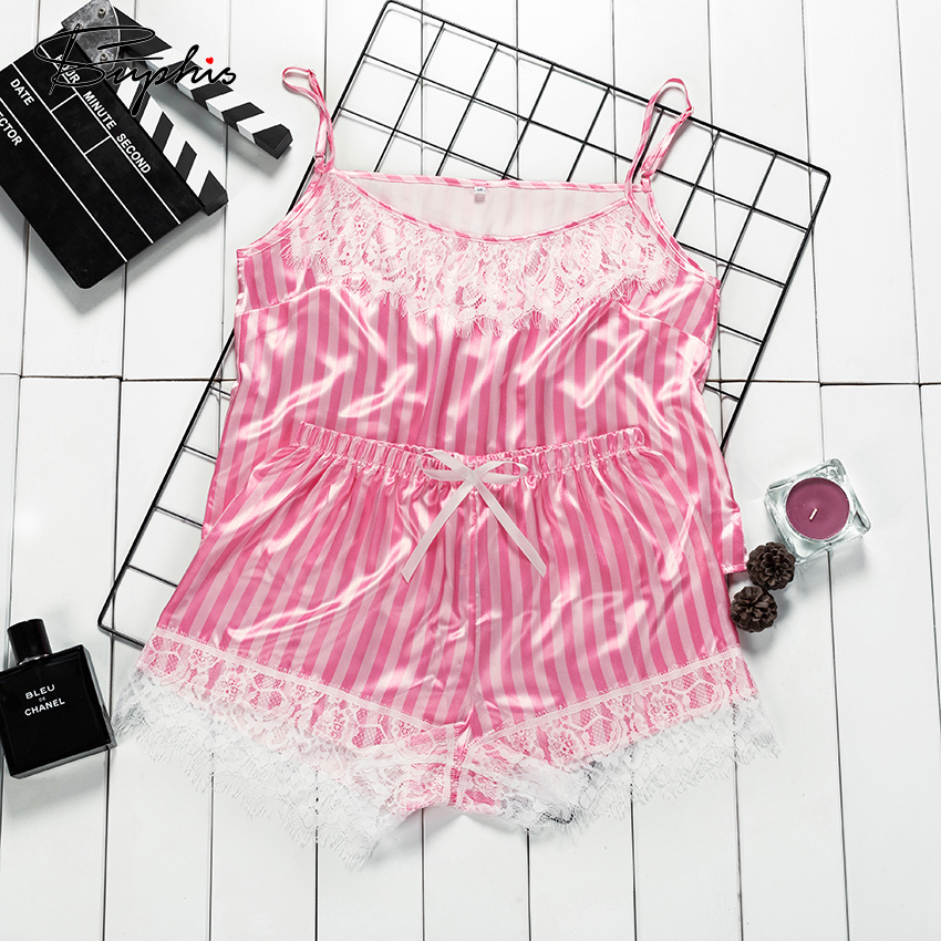 Suphis Spaghetti Strap Top Pink Pajamas In Stripes Print Shorts Sleepwear Set Women Summer Satin Pj Set Sexy Lace Night Suit