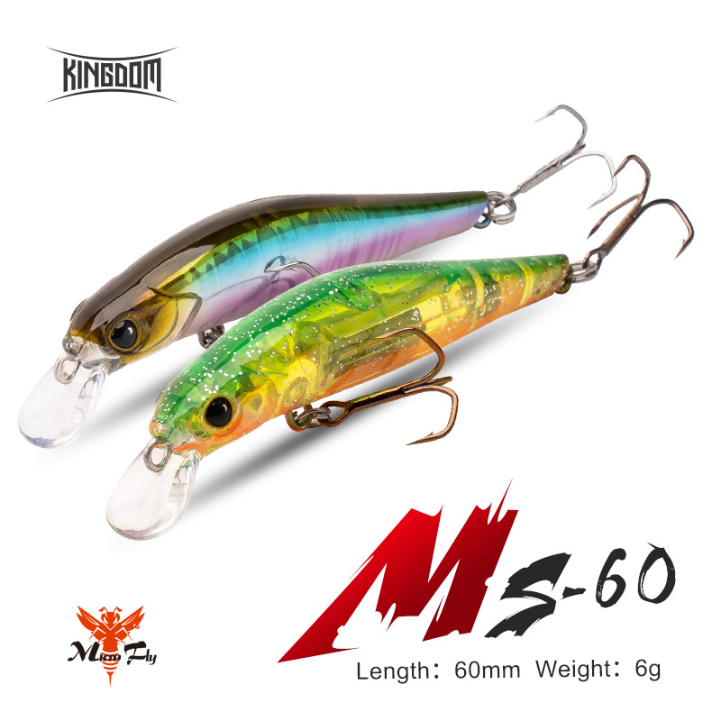 Kingdom Fishing Minnow Sinking Wobblers Hard Bait 60mm 6g Artificial Jerkbait Magnet System Long Casting For Perch Pike MS-60