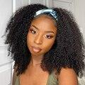 Бесклеевой WIGMY афро кудрявый вьющиеся шелк парик с головной повязкой из натуральных волос для черный Для женщин бразильский половина парик...