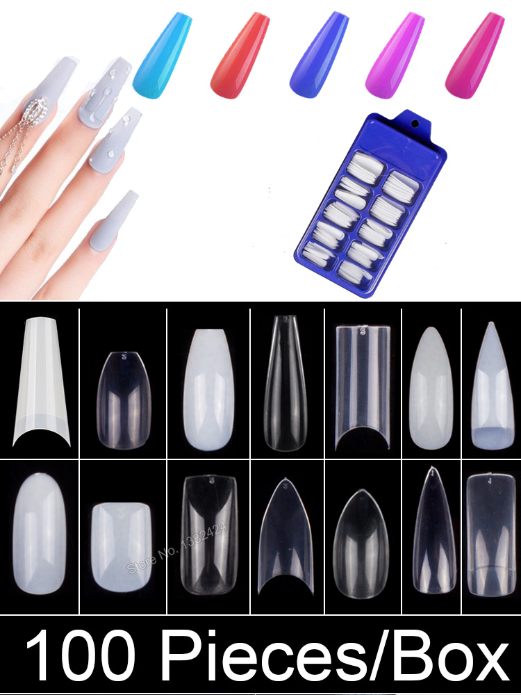 Fake Nail Coffin Almond False-Nail-Tips Square Acrylic French Professional Long Ballerina