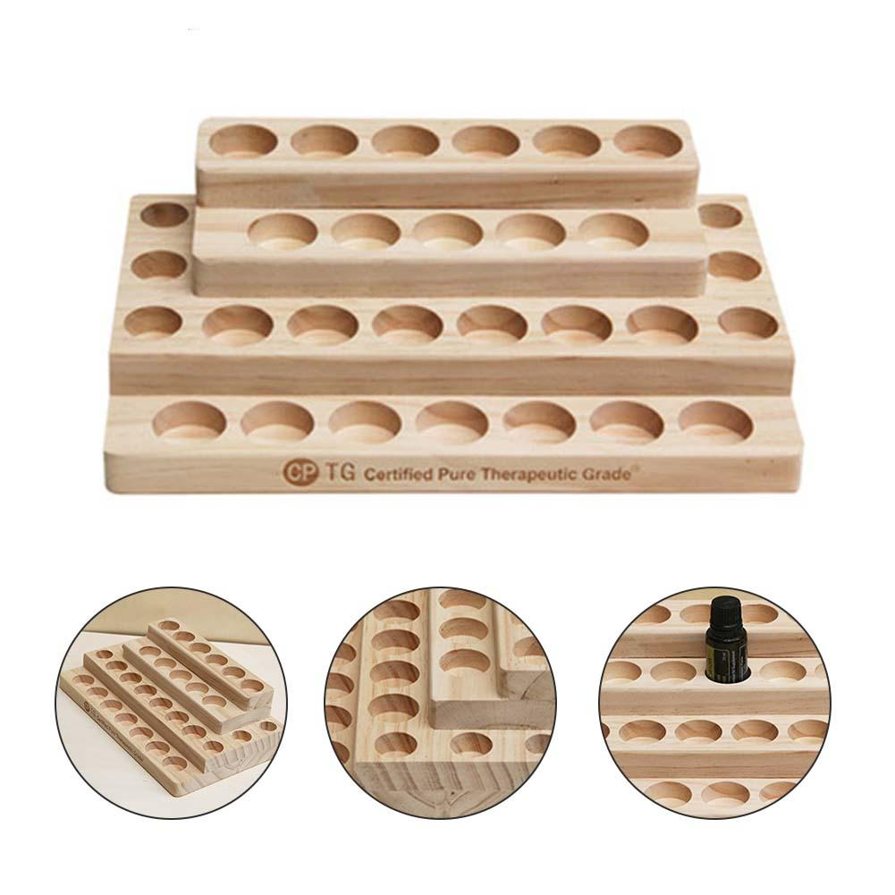 Fashion 30-Hole Stepped 4-Layer Wooden Essential Oil Tray Handmade Natural Wood Display Rack Demonstration Station 3*2.2*2.4cm