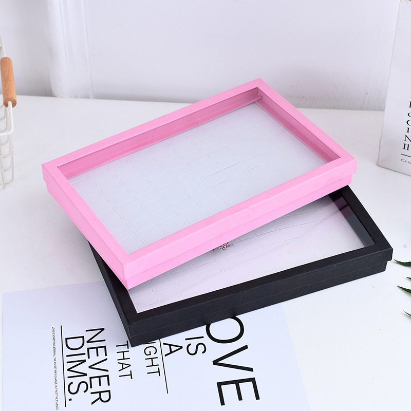 Pink 100 Hole Ring Box Display Box Square Window Transparent Plastic Sheet Stamped With Bordered Design Ring Packing Box