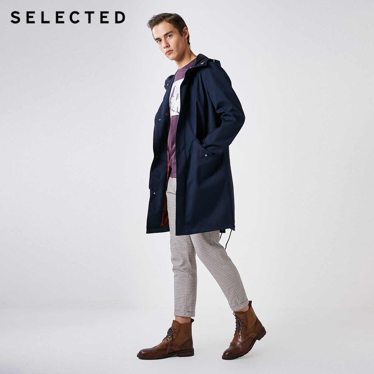 選択された男性の春ダーク格子縞丈のフード付きトレンチコート S | 4191OM511