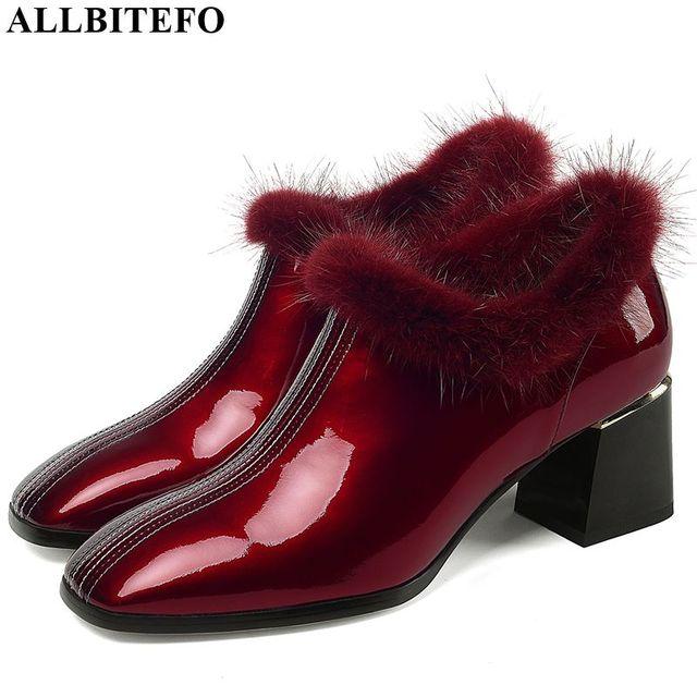 ALLBITEFO heißer verkauf echtem leder hohe ferse schuhe einfache stil Reine farbe frauen heels Elegante Herbst Winter high heels