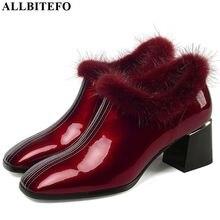 ALLBITEFO رائجة البيع جلد طبيعي أحذية عالية الكعب أسلوب بسيط لون نقي النساء الكعوب أنيقة الخريف الشتاء عالية الكعب