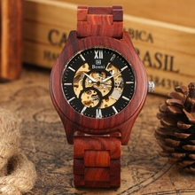 Royal Red Sandalwood Wooden Watch Mechanical Watches Top Luxury Men's Automatic Clock Full Adjustable Band Watch erkek kol saati
