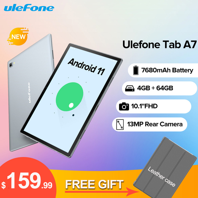 Ulefone Tab A7 Android 11 7680mAh Tablet PC 10.1 ''4G Network 4GB + 64GB Octa Core WIFI 1200*1920 Tablets 13MP Rear Camera 1