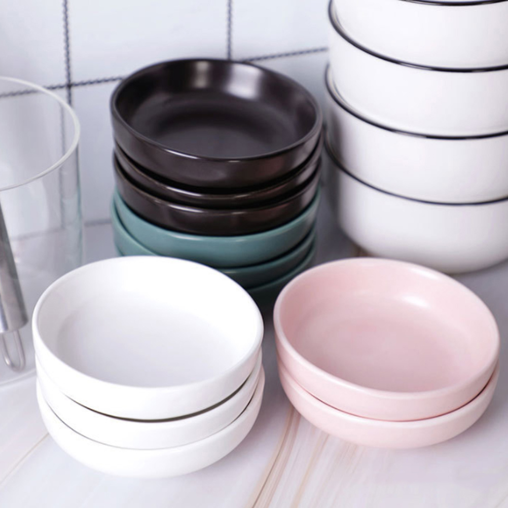 3pcs Ceramic Relish Plate Simple Practical Seasoning Dish Ceramic Cold Dish Snack Plate For Home Restaurant Kitchen Accessories