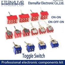 Spdt dpdt 6mm redefinir travamento interruptor de alavanca MTS-102 5a 6a 125v 3a 250 ac mini 3 6pin on-on-off-on interruptor de balancim luzes motores