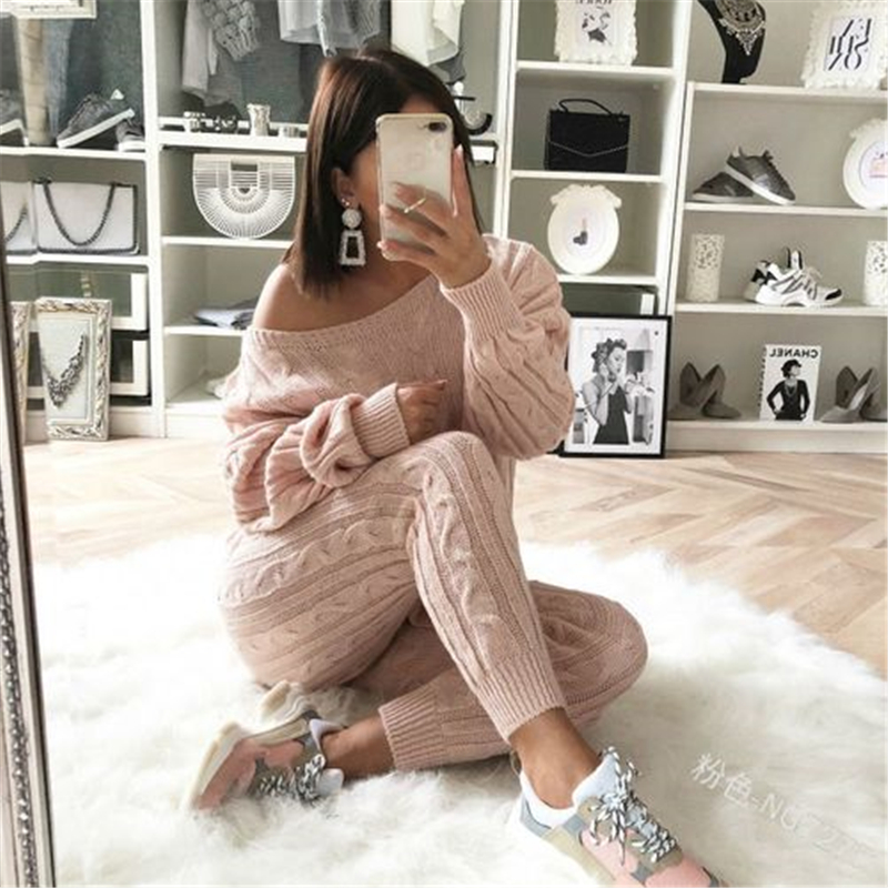 2019 New Casual Women Sweaters Clothes Sets Autumn Winter Cool Knitted Fashion Outfits Sets High Quality Hot Sell Plus Size