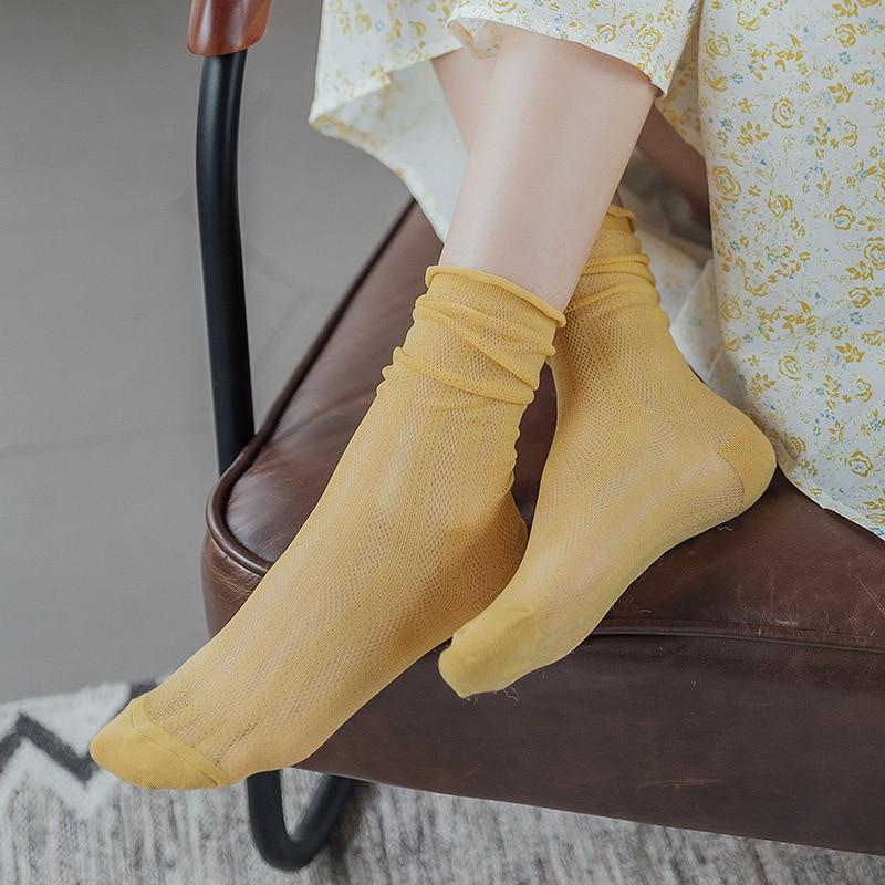 Fashion Women Long Socks 2020 Spring New Fashion Color Socks Hollow Out Korea Style Women Ankle Socks Women Mesh Socks
