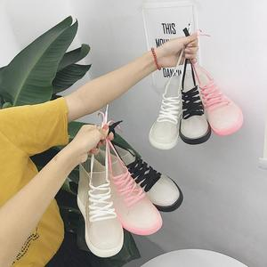 Image 1 - SWYIVY Women Rainboot 2019 New Fashion PVC Rain Boots Women Ankle Boots Transparent Shoes Woman Non slip Waterproof Sneakers
