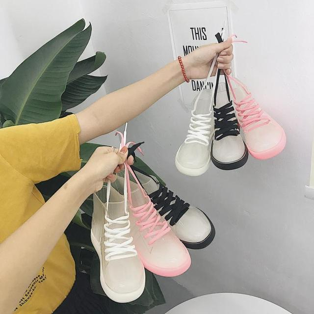 SWYIVY Women Rainboot 2019 New Fashion PVC Rain Boots Women Ankle Boots Transparent Shoes Woman Non slip Waterproof Sneakers