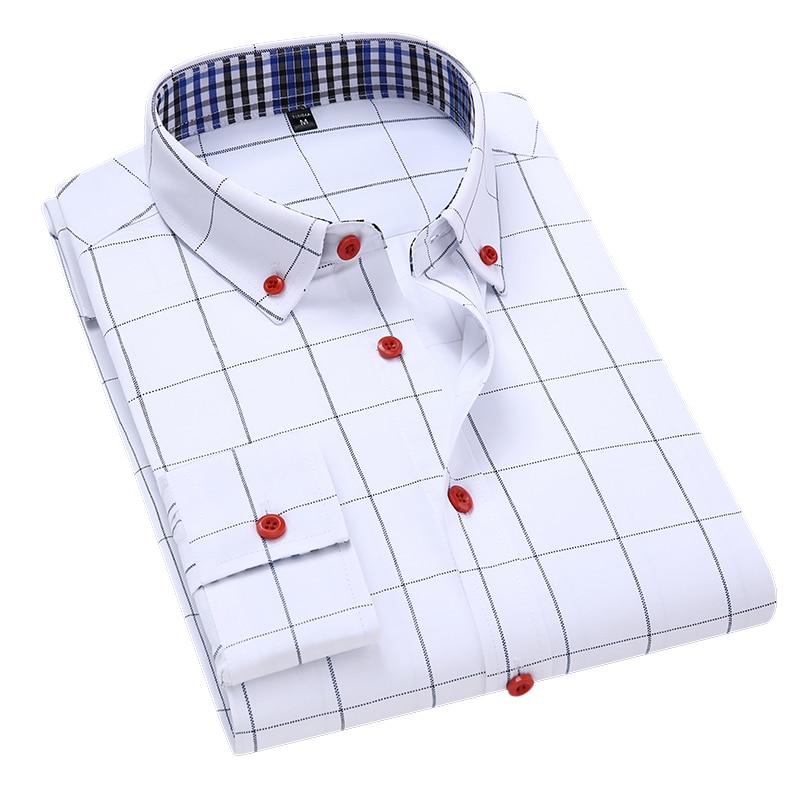 Handsome Fashion Men Shirts Casual Long Sleeved Plaid Shirt Regular Fit Male Blouse 4XL 5XL 1