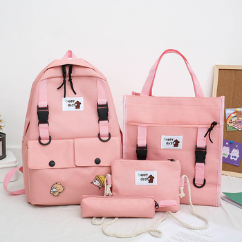 4Pcs/set Women School Backpacks Canvas School Bag For Teenagers Girls Student Larger Capacity Travel Backpacks Female Book Bags miyahouse female harajuku ulzzang soft velvet backpacks teenagers girls koreanstyle velour shoulder schoolbags women travel bags