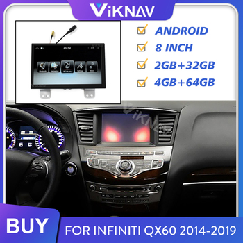 2 Din Car Radio for Infiniti QX60 2014-2019 Android Auto Stereo Multimedia Player Head Unit GPS Navigation Screen Tape Recorder image