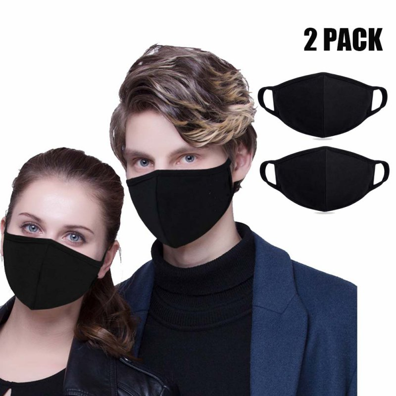 2/3/5pcs Mouth Mask Adjustable Anti Dust Face Mouth Mask,Black Cotton Face Mask For Cycling Camping Travel Healthy Mask