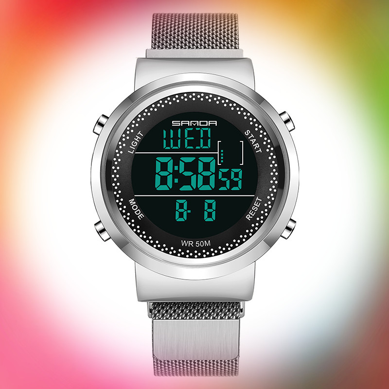 Free Shipping Stainless Steel Mesh Belt Men's Digital Watches Boy Girl Multifunction Waterproof Women Electronic Watches Clock