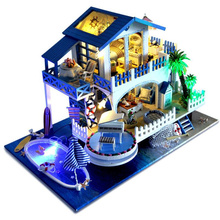 DIY Wooden Miniature Dollhouse Romantic Seaside Villa Series Swimming Pool Furniture For Doll House Toy For Kid Birthday Gift