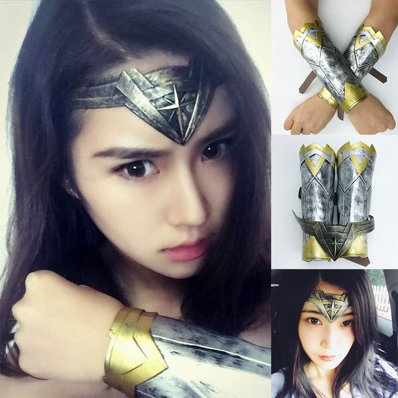 Superhero Diana Retro Bracers Gauntlets Gloves Headwear Cosplay Headband Clothing  Accessories Props 1009