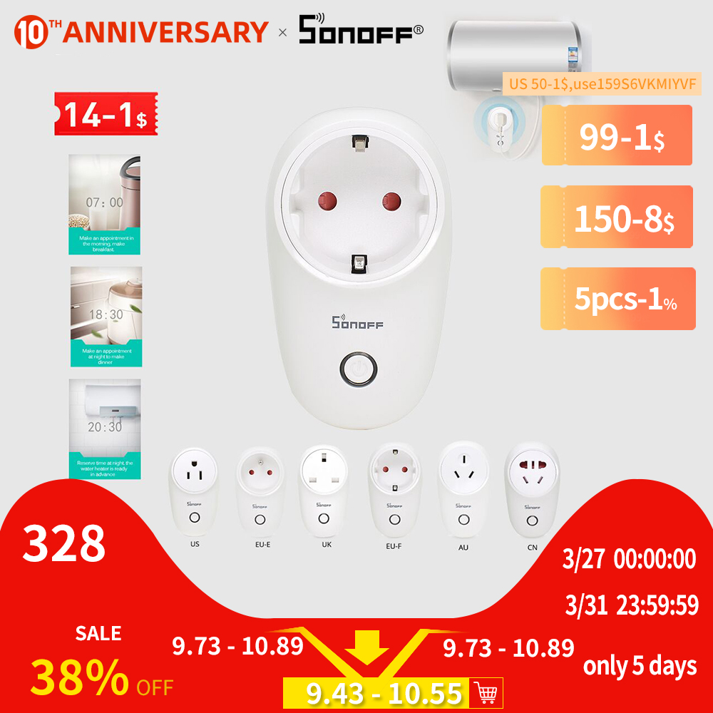 SONOFF S26 US/UK/CN/AU/EU WIFI Smart Plug Power Socket Light Switch Outlet Timer 220V Wireless Remote Control Alexa Google Home(China)