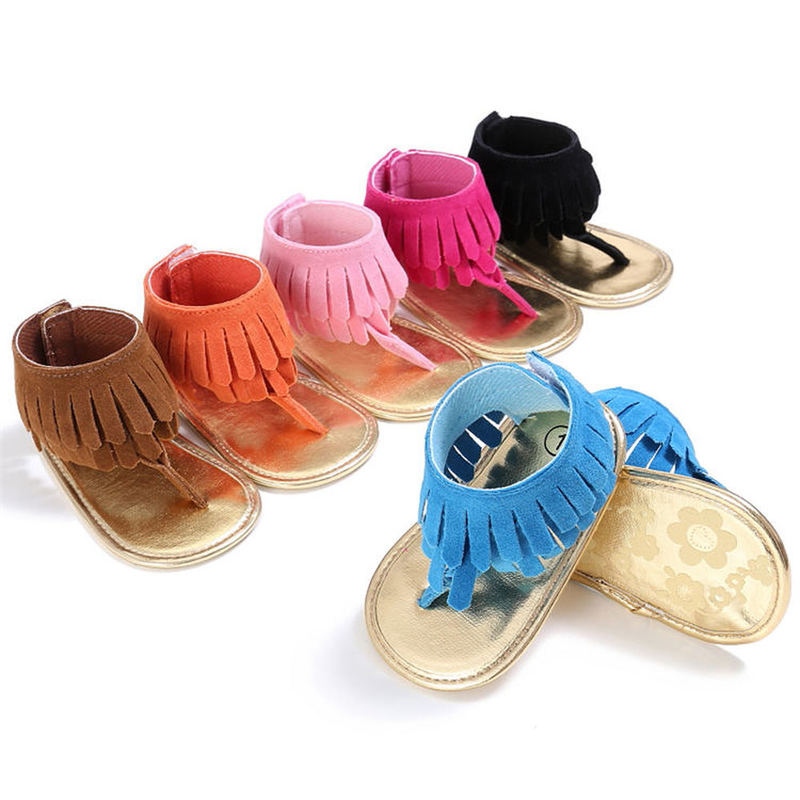 New 2020 baby sandals pu leather for small girl infant bling fringe flat soft anti-slip sole light weight toddler crib shoes newborn girl