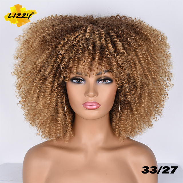 Short Hair Afro Kinky Curly Wigs With Bangs For Black Women African Synthetic Omber Glueless Cosplay Wigs High Temperature Lizzy 5