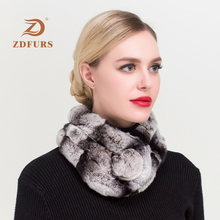 ZDFURS *Womens Real Fur Scarf High Quality Luxury Big Rex Rabbit Scarves Thick Warm Winter Fashion Brand New Arrival