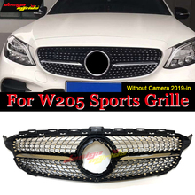 For MercedesMB C Class W205 C205 Saloon Estate Coupe Front Diamonds Look Grille Grill Grills ABS Gloss Black Without Camera 19-