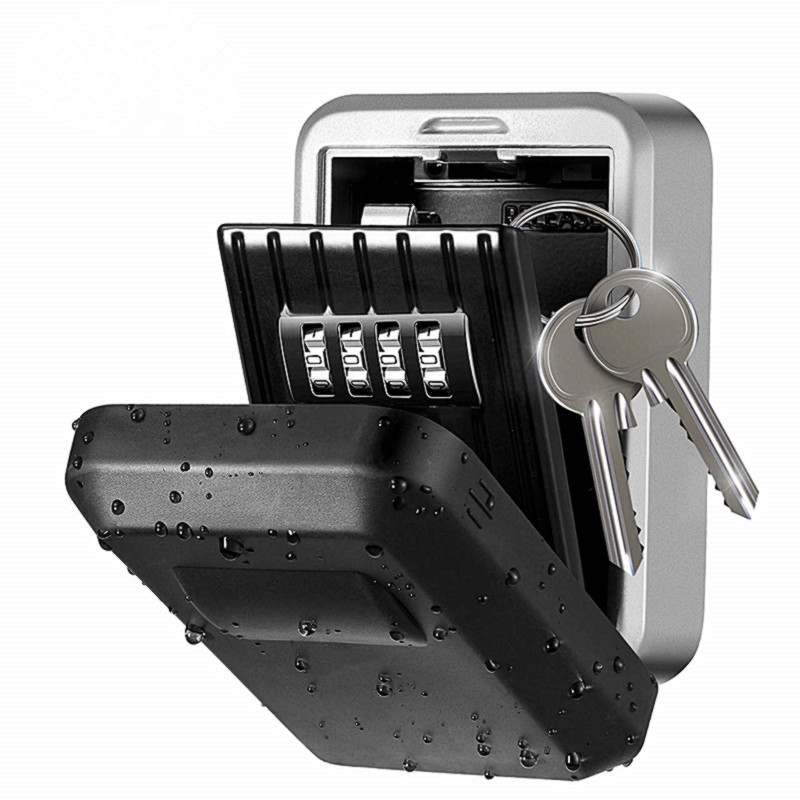Password Key Box Wall-Mounted Metal Weatherproof 4-Digit Combination Box Outdoor Key Storage Anti-Theft Storage Box