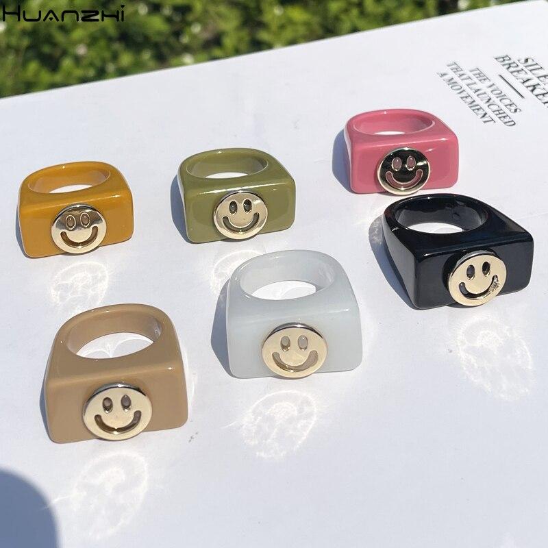 HUANZHI 2021, нежное разноцветное металлическое акриловое круглое кольцо с улыбкой в стиле ретро, летние ювелирные изделия для женщин и девушек