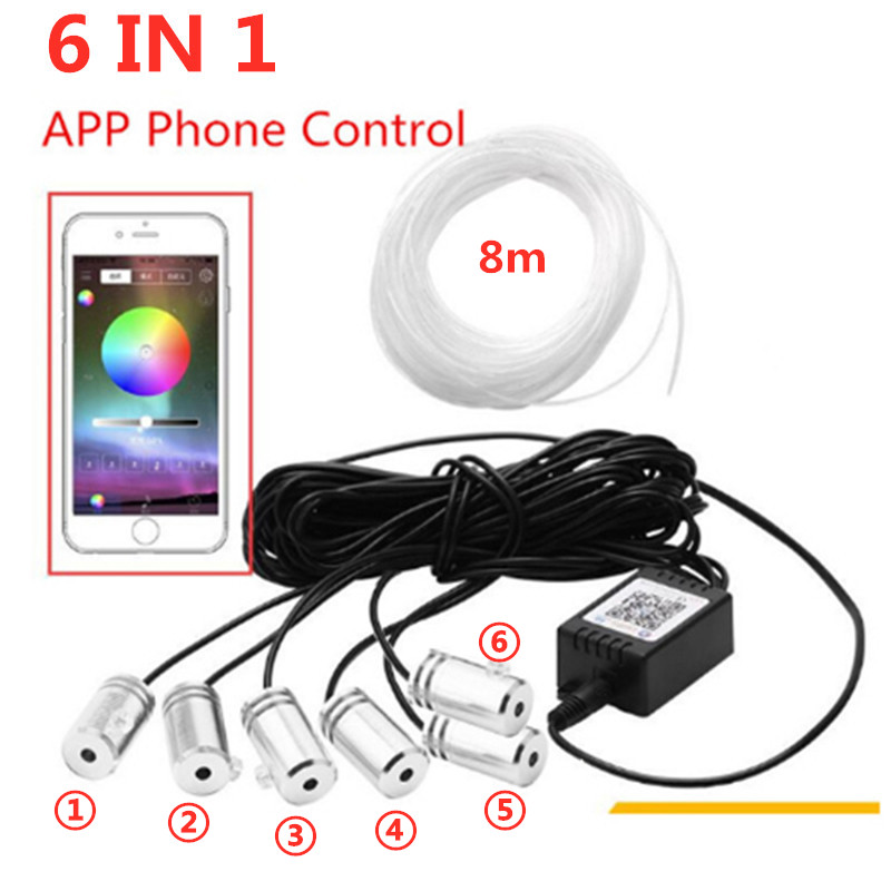 RGB LED Strips Ambient Light APP Bluetooth Control for Car Interior Atmosphere Light Lamp 8 colors DIY Music 8M Fiber Optic Band(China)