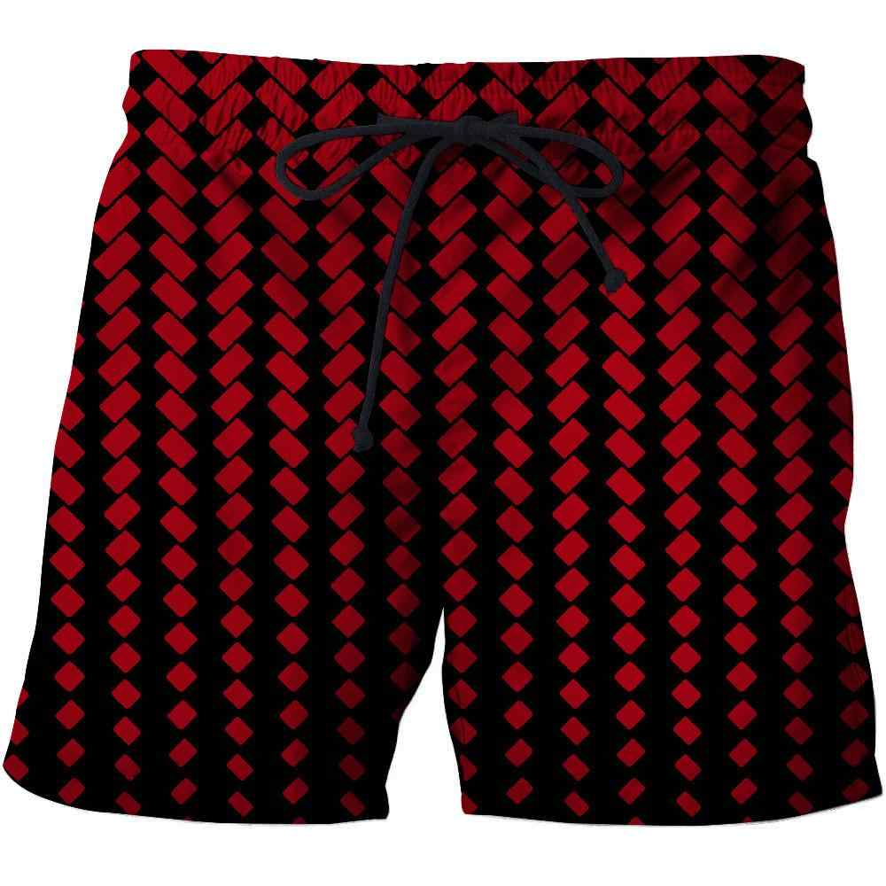 Red plaid 3D Print Summer Beach Shorts Masculino Men Board Shorts Anime Short Plage Casual Quick Dry Streetwear Vacation