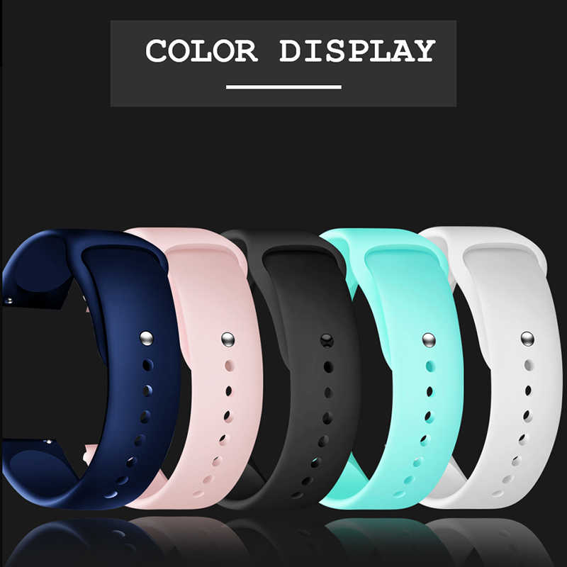 Silicone strap black wrist strap for smart watch with bracelet head 20mm smart bracelet white blue pink