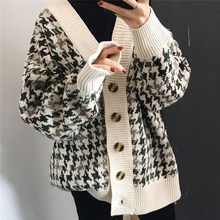 Lattice Cardigan Woman Sweater V Neck Winter Younger Clothing Long Cotton Fall Fashion Gray Brown Retro Houndstooth Thick Coat(China)