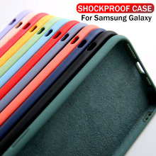 Vloeibare Siliconen Case Voor Samsung Galaxy A50 A50s A10 A70 A20 A30s A40 Solid Candy S8 S9 S10 Note 8 9 10 Plus Shockproof Cover(China)