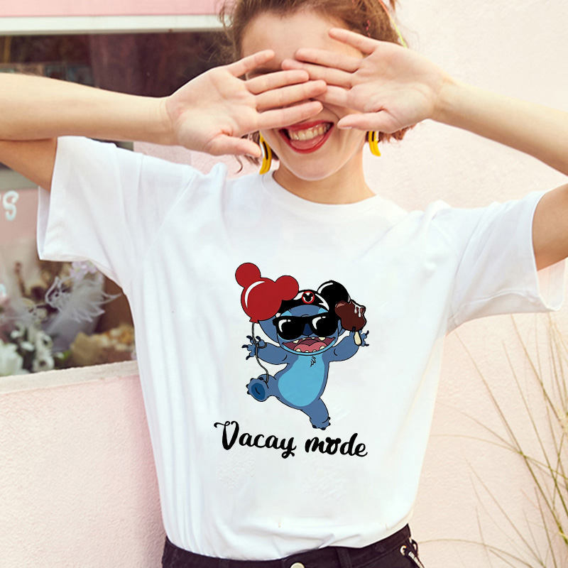 Showtly   Lilo Stitch Harajuku Kawaii Women T Shirts Adventure Comedy Cartoon Female Vacay Mode Printed Casual T Shirt Cute
